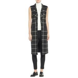 3X Halogen Plus Size Long Vest - Sleeveless Open Front Blazer - Black Plaid